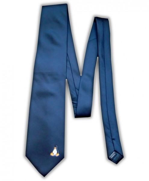 Linux Krawatte - Pinguin Tux - dunkelblau
