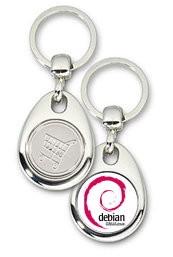 Schlüsselanhänger - Metall - Debian GNU/Linux - Einkaufswagen-Chip