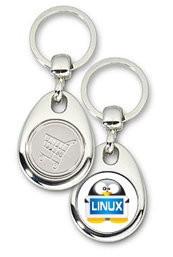 Schlüsselanhänger - Metall - Linux Tux - Einkaufswagen-Chip