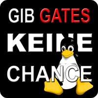 Notebook-Sticker - Gib Gates keine Chance - Pinguin